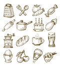 Hand drawn kitchen vector icons set on white Stock Image