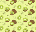 Hand drawn kiwi seamless pattern. Royalty Free Stock Photo