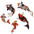 Hand drawn koi carp isolate vector set and  Japanese tattoo Royalty Free Stock Photo