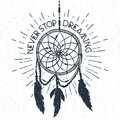 Hand drawn label with dream catcher vector illustration and lettering.