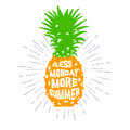 Hand drawn label with textured pineapple vector illustration.