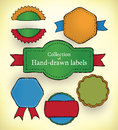 Hand drawn labels collection of doodled and colored promotion Royalty Free Stock Photo
