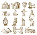 Hand drawn landmarks vector icons set on white Stock Photos