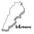 Hand drawn of Lebanon map, illustration