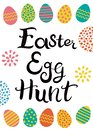 Hand drawn lettering. Easter egg hunt. Easter eggs with different hand drawn ornaments.