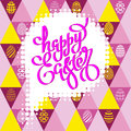 Hand drawn lettering Happy Easter on a seamless lilac background