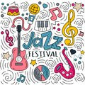 Hand drawn lettering jazz festival and doodles