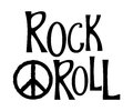 Hand drawn lettering rock and roll and hippie peace symbol.