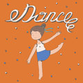 Hand drawn lettering with word Dance with little girl dancing. Vector square illustration, colorful, kind, cute, with happy kids f Royalty Free Stock Photo