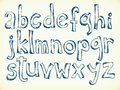 Hand drawn letters of the alphabet sketchy pen cartoon Stock Image