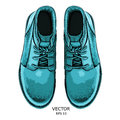 Hand drawn light blue shoe. Shoe in retro style,  Walk Concept. Vector illustration Royalty Free Stock Photo