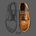 Hand drawn light brown shoe. Shoe in retro style,  Walk Concept. Vector illustration Royalty Free Stock Photo