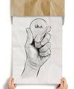 Hand drawn light bulb with IDEA word