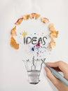 Hand drawn light bulb word design IDEA