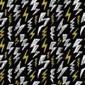 Hand drawn Lightning bolt seamless pattern. Black white yellow. Fashion design texture for textile. Vector illustration.