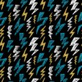 Hand drawn Lightning bolt seamless pattern. Fashion design texture for textile. Vector illustration.