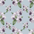 Hand drawn lilac orchid vintage seamless pattern beautiful penciled Stock Photos
