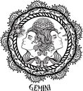 Hand drawn line art of zodiac gemini. Vector Royalty Free Stock Photo
