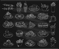 Hand drawn line graphic illustration of assorted food, desserts and drinks, vector symbols set