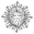 Hand drawn lion head in sun rays isolated over white background vector illustration. Flash tattoo or print design