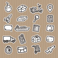 Hand drawn logistic icons.