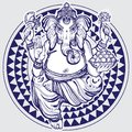 Hand drawn Lord Ganesha over tribal geometric pattern. Highly detailed beautiful vector illustration isolated. Psychedelic.
