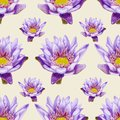 Hand drawn lotus seamless pattern bright pencilled lilac Royalty Free Stock Image