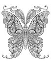 Hand drawn magic butterfly  for adult anti stress Coloring Page Royalty Free Stock Photo