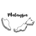 Hand drawn of Malaysia map, illustration