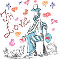 Hand drawn man with flower in love Royalty Free Stock Photography