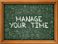 Hand Drawn Manage Your Time on Green Chalkboard. Royalty Free Stock Photo