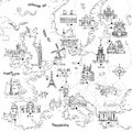 Hand drawn map of Europe Royalty Free Stock Photo