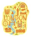 Hand drawn map of London in cartoon style