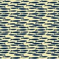 Hand drawn marine seamless pattern a group of anchovy fish on yellow background.