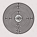 Hand drawn maze labyrinth with eye in it.