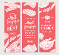 Hand Drawn Meat Vertical Banners