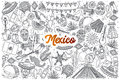 Hand drawn Mexico doodle set with lettering