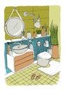 Hand drawn modern bathroom interior design. Vector colorful sketch illustration.