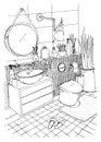 Hand drawn modern bathroom interior design. Vector sketch illustration.
