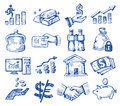 Hand drawn money and business vector icons set on white Stock Photography