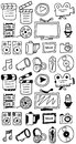 Hand drawn movie doodles icon set isolated on white Stock Photo