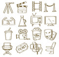 Hand drawn movie vector icons set Stock Photo