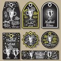 Hand drawn mulled wine vector gift tags set. Black and white sketch badges and logo with wine glass. Menu cards design Royalty Free Stock Photo
