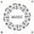Hand drawn music frame musical sketch icons template for banner poster brochure cover festival or concert decoration Stock Photos