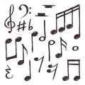 Hand drawn music note. Vector musical symbols isolated on white doodle collection