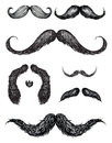 Hand drawn mustache set vector of various illustration Stock Images