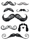 Hand drawn mustache set vector of various illustration Royalty Free Stock Photos