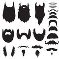 Hand drawn mustaches and beards set Stock Photo