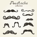 Hand drawn mustaches set eps Royalty Free Stock Images