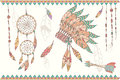 Hand drawn native american dream catcher, beads and feathers Royalty Free Stock Photo